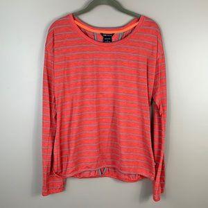 NWT Oakley pinkish orange striped long sleeve top sz sm